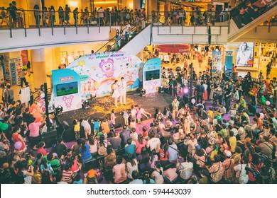 Bangkok, Thailand - January 10, 2016: Children's holiday and store opening in Big C Supercenter on Ratchadamri Road, Bangkok, Thailand.