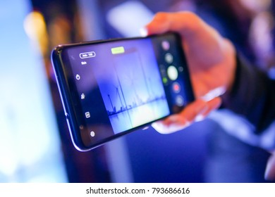 BANGKOK, THAILAND - JANUARY 11, 2018: Hands on ASUS Zenfone Max Plus, the latest Android smartphone for medium customer segment from ASUS that has been unveiled in Thailand.