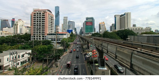 BANGKOK, THAILAND -JANUARY 11.2017: View on urban landscape, freeway with high building in the center Bangkok