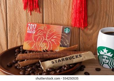 BANGKOK, THAILAND - JANUARY 12, 2017: Starbucks card in Lunar New Year 2017.