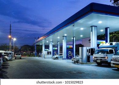 Bangkok, Thailand - January 12, 2018: Photo of PTT Gas station on early morning with many car in service