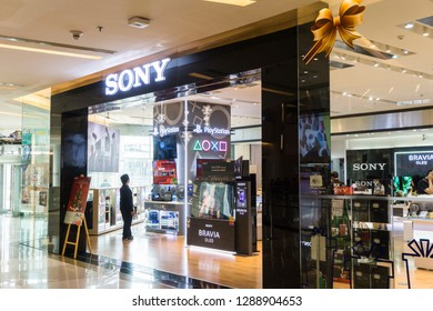 BANGKOK , THAILAND - January 12, 2019: Sony electronics store, a lot of people will come to this holiday shopping to buy things to spend a day off.