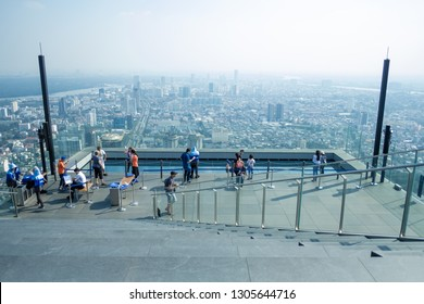 BANGKOK, THAILAND - JANUARY 12, 2019: View of Bangkok from rooftop of King Power Mahanakhon Tower, Thailand?s newest iconic travel landmark & highest observation deck.
