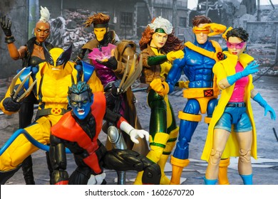 Bangkok, Thailand - January 1,2020: The setting of X men super heroes action figure in background