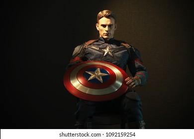 BANGKOK THAILAND - JANUARY 13 ,2017 : Close up shot of Captain America in AVENGERS superheros figure in action at Home in Bangkok ,Thailand