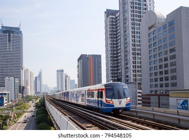Bangkok , Thailand - January 13, 2018 : BTS sky train In Thailand - The main BTS line connects the stations around Bangkok And tourists like to use.