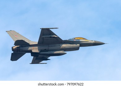 BANGKOK, THAILAND - January 13, 2018 : F16 supersonic jet aircraft Fighter Falcon performs combat air show Children's Day at Don Muang Airport  Thailand
