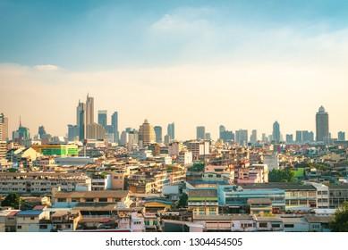 BANGKOK, THAILAND - January 13, 2019 : Urban Bangkok View With Sky Background From Wat Saket Ratcha Wora Maha Wihan Bangkok, Thailand 2019