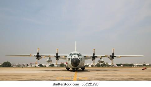 BANGKOK, THAILAND - JANUARY 14, 2017: Landing of Lockheed C-130 Hercules, The Royal Sky at Royal Thai Airforce Base Donmuang.
