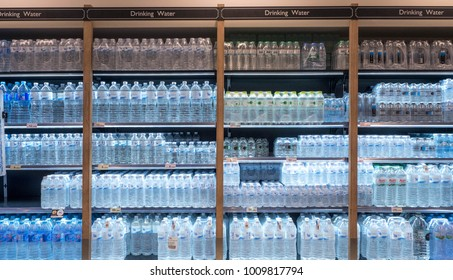 BANGKOK, THAILAND - January 14 - 2018: Drinking Water on the shelf in the supermarket. Editorial use only