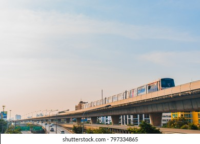 Bangkok, Thailand - January 14, 2018 : Electric bts are running through the city center in Transportation BTS Sky train Business Travel Asia Background Thailand