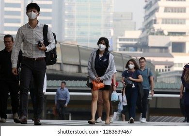 Bangkok, Thailand - January 14, 2019 Thai people wearing face mask for protection against the air pollution in Bangkok, Thailand.