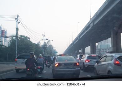 BANGKOK, THAILAND - January 14, 2019 : Bangkok pollution, bad air quality with dust PM 2.5 microns in Bangkok downtown