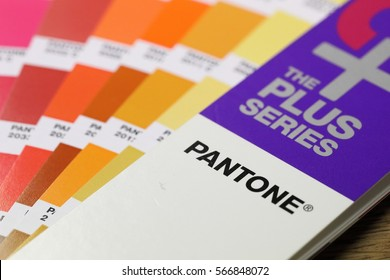 BANGKOK, THAILAND -JANUARY 15, 2017. Close-Up on Pantone Color Guide Scheme on January 15,2017 in Thailand