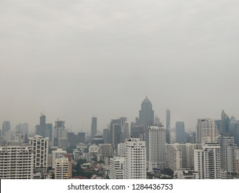 Bangkok, Thailand - January 15, 2019 : Air pollution in Bangkok from 2.5 pm dusk