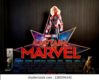 Bangkok, Thailand - January 15, 2019: View of standee Captain Marvel, a Marvel superhero movie, poster with front of the theater in Bangkok, Thailand. - Image
