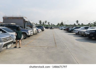Bangkok Thailand : January 16, 2019: Outdoor parking in the old building.