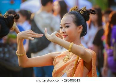 BANGKOK, THAILAND - JANUARY 16: Thai Culture Festival in Bangkok, Thailand on January 16, 2015. Participants take part in the celebration of Thai Traditional Culture Festival at Lumpini Park