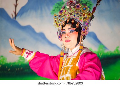 BANGKOK, THAILAND - JANUARY 17 2016: Chinese opera  performed for a lunar new year celebration at a Chinese shrine