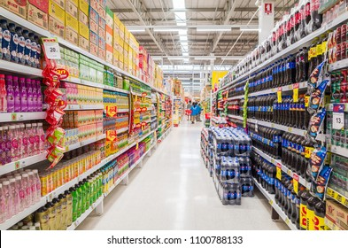 "BANGKOK, THAILAND - JANUARY 17, 2017: Beverage department at Big C Kanlapaphruek that has many kind of drinks on shelf, Big C Supercenter operates business in the form of ""Hypermarket"" in Thailand"