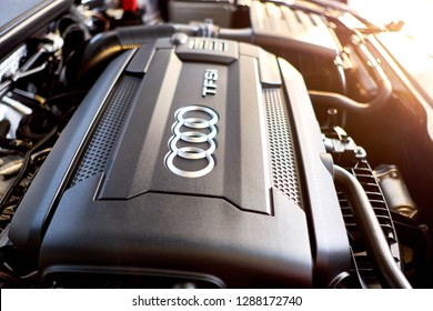 BANGKOK, THAILAND - JANUARY 17, 2019: Audi TT engine a 2.0-liter turbo-four rated at 220 hp and 258 lb-ft of torque. Engine bay after cleaning & dressing. Luxury sports car and roadster engine details