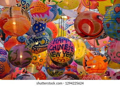 bangkok, thailand - january 17, 2019: colorful lampions at the entrance of emporium shopping mall sukhumit in anticipation of chinese new year 2019