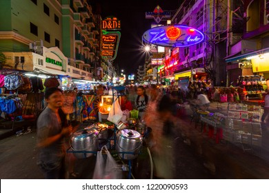 Bangkok, Thailand - January 18, 2015: Khaosan road's night life. Khao San Road is popular for cheap exotic street food, market and famous district for back packers and low budget hotels, guesthouses.