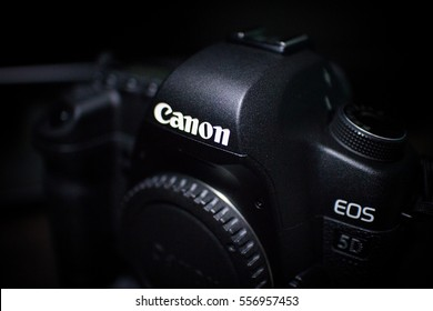 Bangkok, Thailand - January 18, 2015: Canon 5D mark II interchangeable-lens professional DLSR camera on dark background.