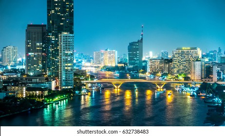 BANGKOK, THAILAND - JANUARY 18, 2016: View on the nightly skyline of the city on January 18, 2016 in Bangkok, Thailand.