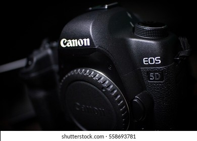 BANGKOK, THAILAND - January 18, 2017: Body of DSLR camera, Canon EOS 5D Mark II on a dark background. Low key studio shot.