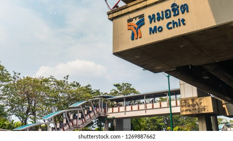 Bangkok, Thailand, January 18 2018 BTS Station Mo Chit, Bangkok, you can see the name and logo of the BTS Mo Chit Station, and the catwalk to get to the station