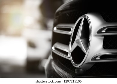 BANGKOK, THAILAND - January 18, 2019 : Mercedes Benz Sign Close Up Logo, Black And White Tone, Mercedes-Benz is a Global Automobile Marque And a Division of the German Company Daimler AG.