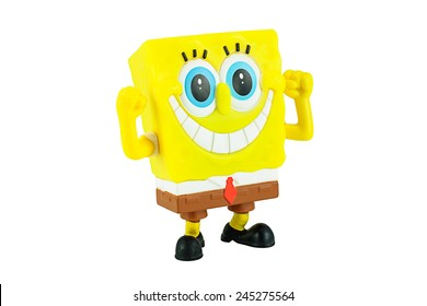 Bangkok, Thailand - January 19, 2015: SpongeBob SquarePants toy character from SpongeBob SquarePants American animated television series created by marine biologist and animator Stephen Hillenburg.