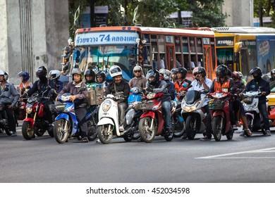BANGKOK, THAILAND - JANUARY 19, 2016: Traffic on the streets of Bangkok , Thailand on January 19, 2016