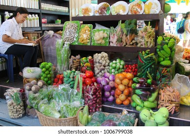 Bangkok, Thailand - January 19, 2018 : Many types of vegetables displayed on racks in mini grocery shop in Bangkok City.