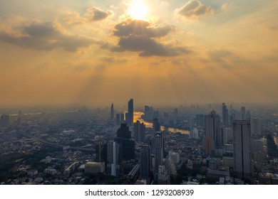 Bangkok, Thailand - January 19, 2019: Skyline view from the top of King Power Mahanakhon.