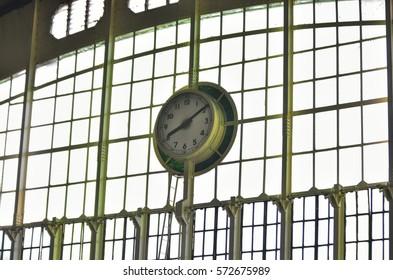 BANGKOK, THAILAND - JANUARY 19,2017 : Main clock at Hua lamphong station or bangkok railway station, it is the center of the state railway of thailand
