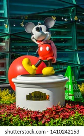 Bangkok Thailand. January 1th, 2019. Mickey Mouse figure for Celebration of Mickey Mouse's 90th Anniversary at KING POWE Rangnam