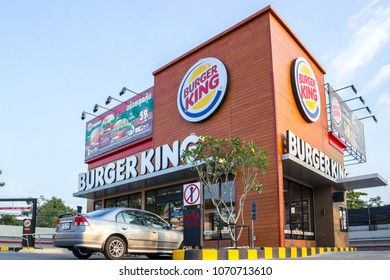 "BANGKOK, THAILAND - JANUARY 2, 2018: Burger King (BK) retail fast food restaurant show logo. An American global chain of hamburger fast food restaurants. The most favorite menu is the ""Whopper"""