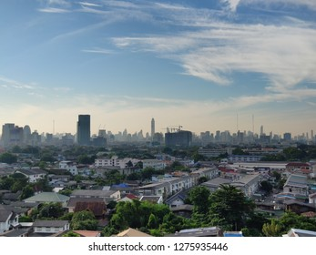 Bangkok, Thailand - January 2, 2019 : Bangkok city view from outskirt. The taller building is Baiyok Sky tower 2 (shot by smartphone)