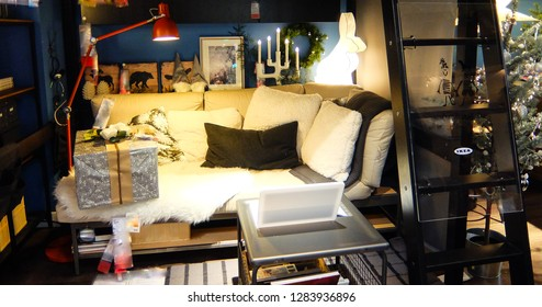 Bangkok, Thailand. January 2, 2019 - IKEA bedroom interior for new year concept.  IKEA is the world's largest furniture retailer.