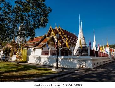 Bangkok, Thailand - January 2, 2021 : Wat Rakhang Kositaram Woramahawihan, temple in Thailand.