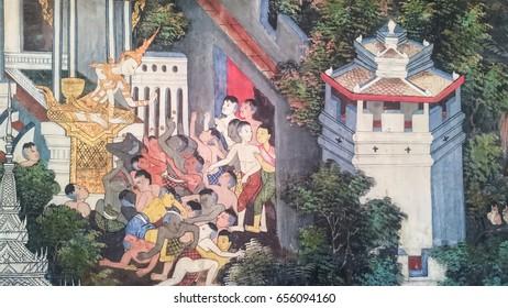 BANGKOK, THAILAND - JANUARY 2:  Thai style painting art , tales of the lord Buddha's former births  at Wat Nairong on January 2, 2017 in Bangkok,Thailand.