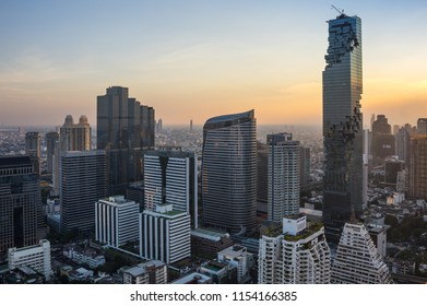 BANGKOK, THAILAND - JANUARY 20, 2017: View of MahaNakhon (the tallest building in Thailand), a mixed-use skyscraper in the Silom/Sathon central business district of Bangkok, Thailand