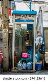 BANGKOK, THAILAND JANUARY 2015 - Telephone booth in the business district in Bangkok on January 30th, 2015 in Bangkok, Thailand.