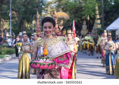 Bangkok, Thailand - January 2017, 27 : Thai Folk Dancer in the canival of Thailand Tourism Festival 2017 at Lumpinee Park
