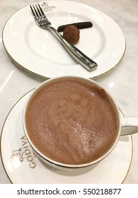 BANGKOK, THAILAND - January 2017 : Hot chocolate cup, Godiva open first shop in Thailand at Central World, Bangkok, Thailand. Godiva is a brand of premium chocolate founded in Belgium.