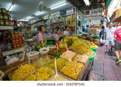 Bangkok, Thailand. January 2018. the crowd of people among the food stalls in Chinatown