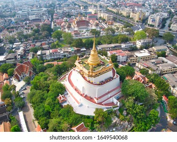 Bangkok, Thailand - January, 2020: Aerial View With Drone. Wat Saket, The Golden Mount Temple, Travel Landmark of Bangkok, Thailand.