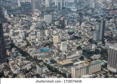 Bangkok, Thailand - January, 2020: Panoramic skyline view of Bangkok from above from The Peak of the King Power MahaNakhon 78 floors skyscraper